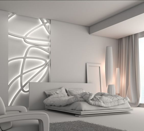 Accent light on either side of a white bedroom. The left is a set-in white line design that is backlit by LED strips. The other side has soft pink patches of accent light.